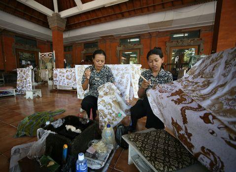 Batik factory on island of Bali