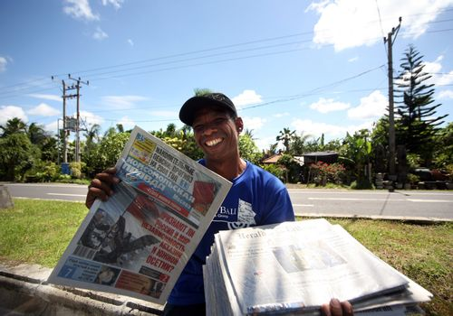 The seller of newspapers on Bali. Inonesia