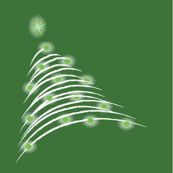 A glowing christmas tree on green background. (vector)
