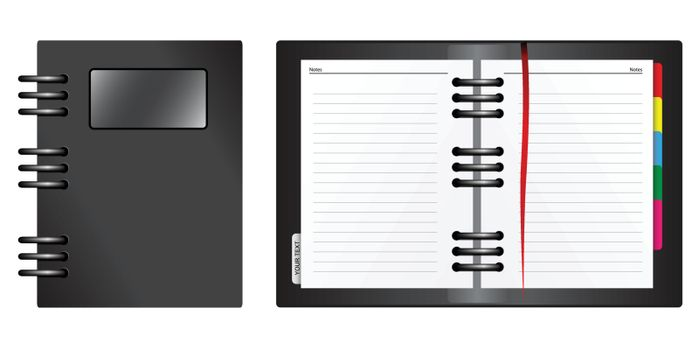 An organizer. Cover and inside view. (vector)