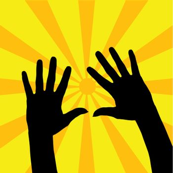 Two open hands silhouette with yellow rays background.