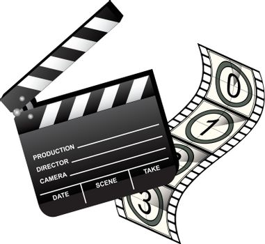 Open Movie Clapboard and Film with countdown. Isolated on white. Vector.