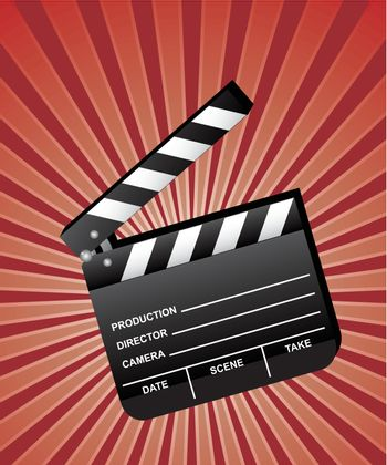 Open movie clapboard with red beams background. Vector.