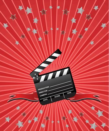 Movie clapboard with red ribbons and stars on red beams background.
