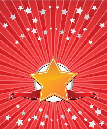 Golden star with ribbons and stars on red beams background. Vector.