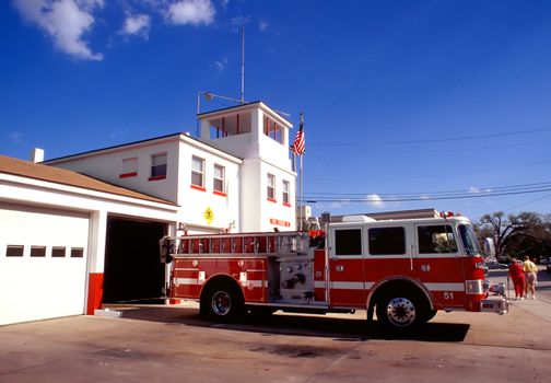 Red Fire Engine and Station