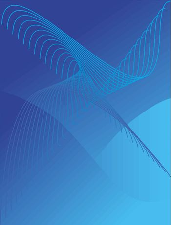 Vector striped and ripple background in blue