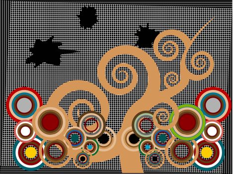 Vector abstract tree and multicolored circles against black stripped grunge background