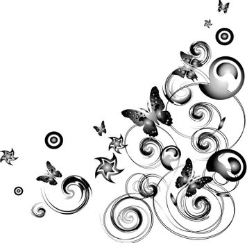 Vector butterfly with ornate in black and white
