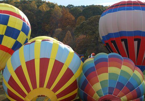 Filling the hot air balloons at an air show