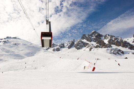 Aerial tramway at ski resort