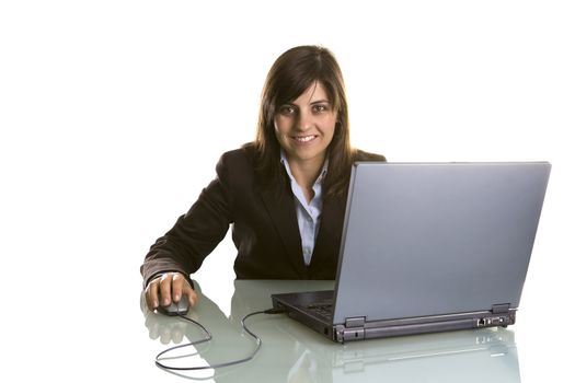 businesswoman with laptop computer isolated in white background