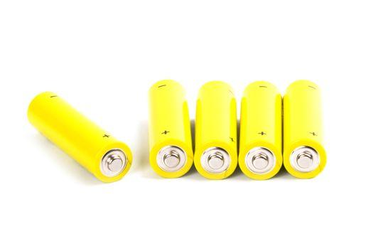 five yellow alkaline batteries