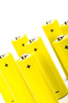 eight yellow alkaline batteries