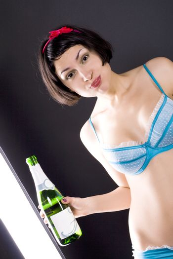 girl drinking champagne