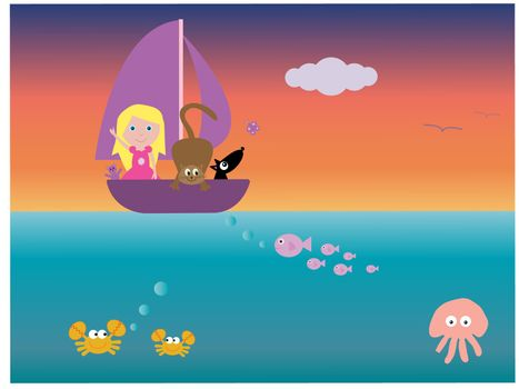 Vector illustration of a girl and her cat and dog in a boat - with a view of underwater creatures.  I have other files for children in my portfolio.