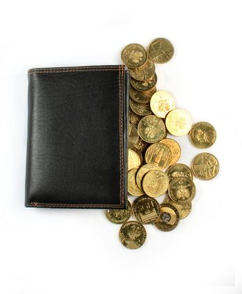Leather wallet with golden coins isolated on white.