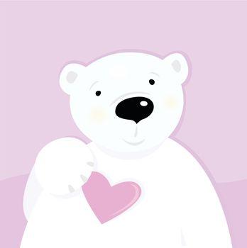 Polar bear with love heart