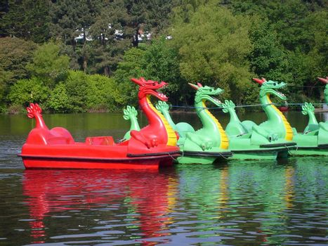 Dragon boats on boating lake