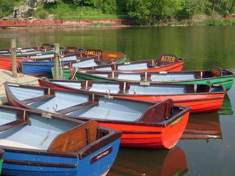 Colorful boats on boating lake