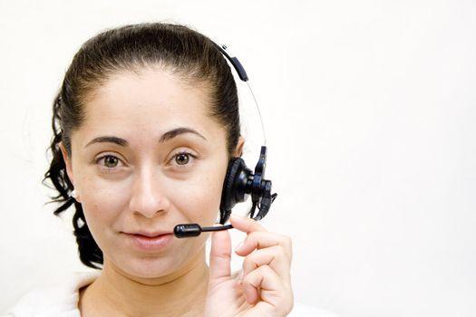 Young hispanic woman on service phone headset