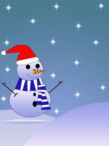 Large snowman dressed in hat and scarf with falling snow