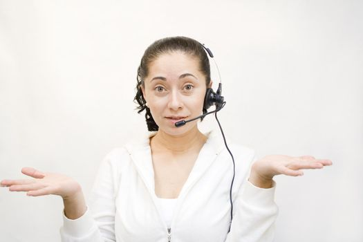 Confused woman with service headset on phone