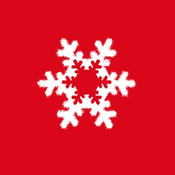 white snowflake on red background. Christmas snowflake. Christmas