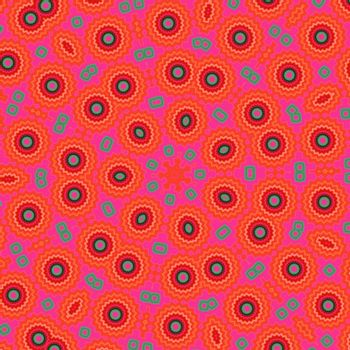 Abstract red background. Multi-coloured circles on a red background.