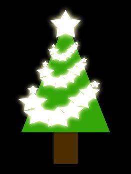 Christmas tree. White stars. A beautiful Christmas tree.