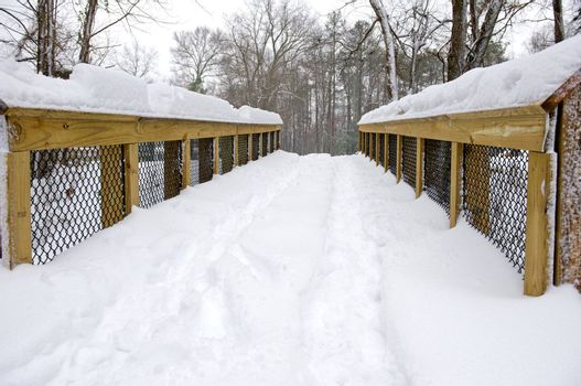 Snow covered bridgel in Richmond, Virginia during the winter storm in December 2009.