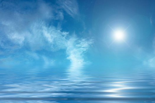 Blue magical background Sunny sky and blue, peaceful water.