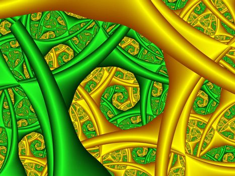 green and yellow fractal spiral