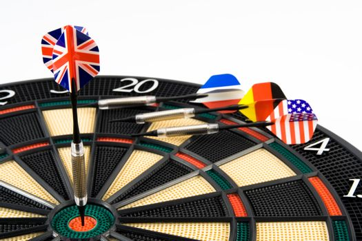 British dart in center of target. Isolated.