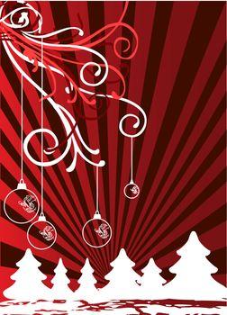 Christmas themes with bulbs and snowflakes