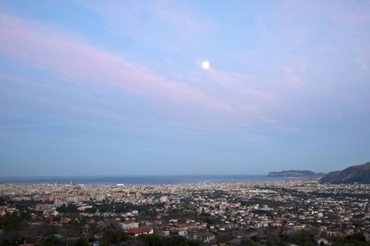Overview of Palermo from Monreale life at sunset