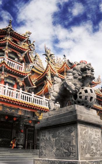 Colorful religious building in Chinese style