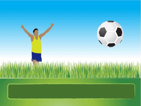People play football on grass, goal