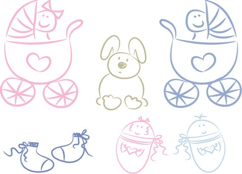 Set of pastel-colored baby items, doodle style