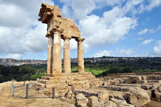 Temple of Castor in the Valley of the Temples in Agrigento