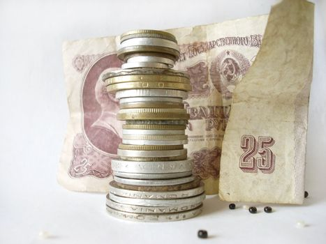 Statue of soviet coins and roubles