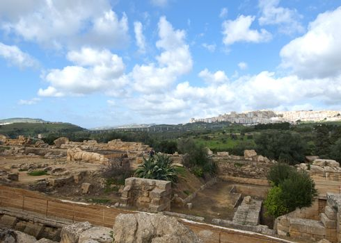 Ancient ruins in the background of the city of Agrigento