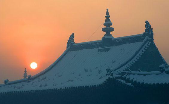 Sunrise over a temple in Mongolia