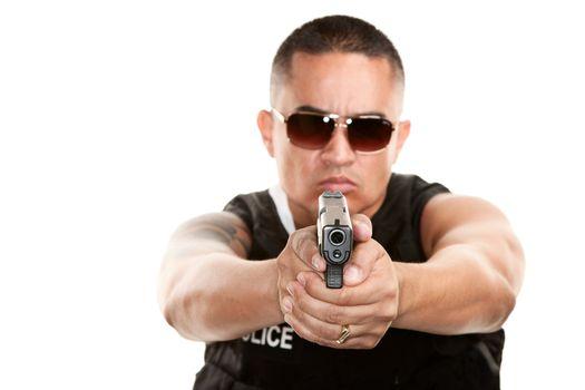 Hispanic Cop Aiming Pistol