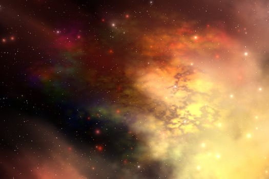 A beautiful nebula out in the cosmos with many stars and clouds.