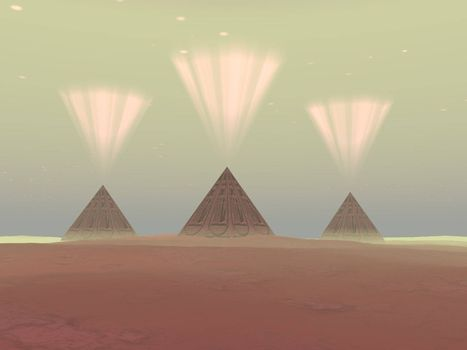 The lights from ancient pyramids join with the stars overhead.