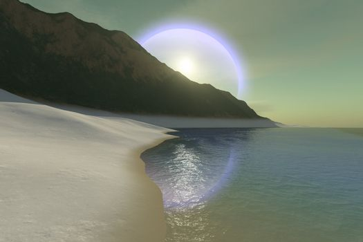 A beautiful halo surrouds the sun over this white sand beach.