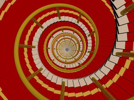 Ladder in a carpet going downwards. 3D image.