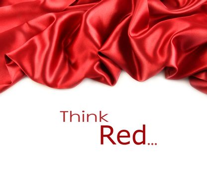 Red satin fabric against white