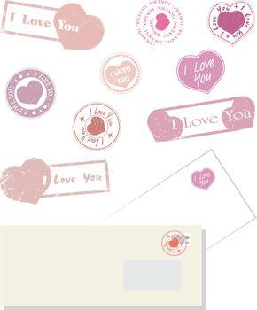 Vector illustration Valentine postal stamps heart red